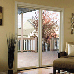 pella impervia sliding patio almond trim closed